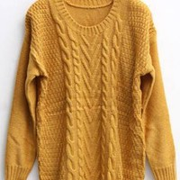Twist Round Neck Yellow Sweater S002422