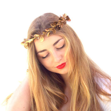 Gold leaf Crown, Golden leaves Headpiece,  Greek Goddess, Bridal Flower crown, Wedding Hair Wreath