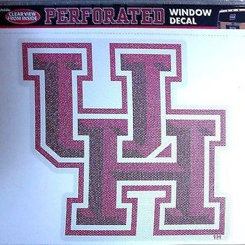 """Houston Cougars Large 12"""" Perforated Auto Window Film Glass Decal University of"""