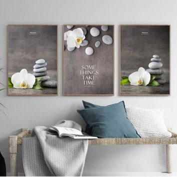 New Chinese Zen Stone Orchid Phalaenopsis Decorative Painting Modular Picture Wall Art Canvas Painting for Living Room Unframed