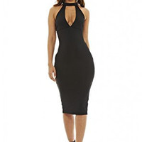 Black Racer Back Cut Out Neck Midi Dress