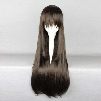 Noragami Iki Hiyori Japanese Anime Cartoon Cosplay Wigs for Women Girls Long Straight Brown 65cm Heat Resistant Synthetic Wig