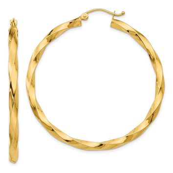 3mm x 43mm Polished 14k Yellow Gold Large Twisted Round Hoop Earrings