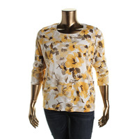 Karen Scott Womens Plus Knit Floral Print Pullover Top