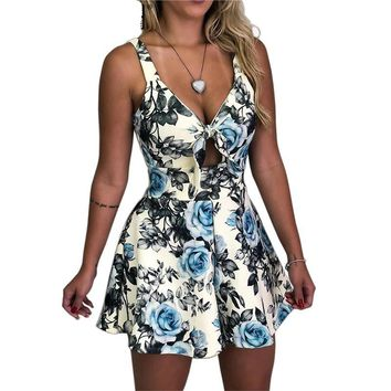 Plus-Size Floral Bow Tie Up Sleeveless V-neck Rompers