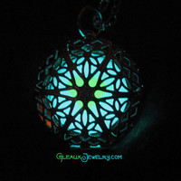 Seafoam Two Color  Green and Aqua Blue Burst Glow Locket