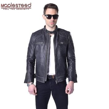 MAPLESTEED Brand Vintage Genuine Leather Jacket Men 100% Cowhide Black Thick Punk Men's Motorcycle Jacket Biker Coat Winter 011