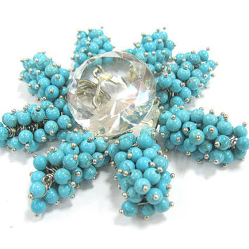 Turquoise cluster earrings, Teal Blue Clusters, Spring / Summer Everyday Jewelry