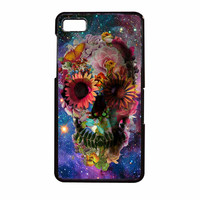 Floral Sugar Skull On Galaxy BlackBerry Z10 Case