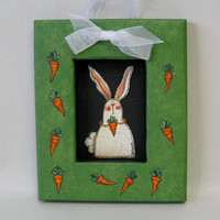 Bunny and Carrots, Whimsical, Tole Painted, Framed in Greens with Carrots, Spring Time