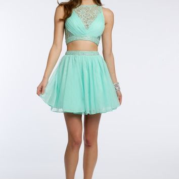 2 Piece Beaded Lace with Mesh Skirt Dress