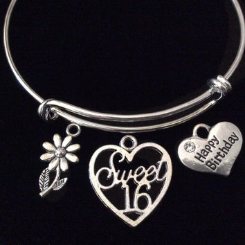 Happy Birthday Sweet 16 Expandable Charm Bracelet Adjustable Bangle Teenager Teen Gift