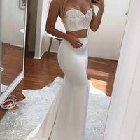 White Sweetheart Two Piece Mermaid Prom Dress,Applique White Evening Dress from prom dress