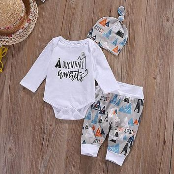 Newborn Baby Boy Long Sleeve Top Onsie +Long Pants Hat 3PCS Outfits
