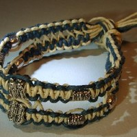 Hemp bracelet or anklet with blue and natural hemp double interwoven strands on Handmade Artists' Shop