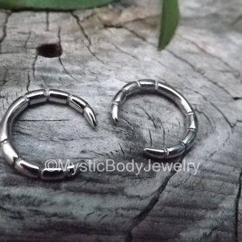 Septum Ring 12g Nose Piercing Pincher Silver Tribal Circular Barbell Stainless Steel 2mm Horseshoe Bone Nipple Body Jewelry Hoop Earring Lip