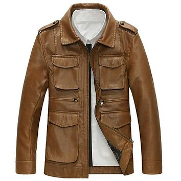 Men Leather Jacket and Coats With Pockets Male Leather Bomber Jackets and Coats
