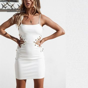 Fuedage Summer Autumn Bandage Dress Women 2017 New Sexy Strapless Mini Lace Up Dresses Hollow Out Club Party Vestidos