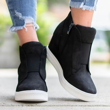 Zoey Wedge Sneaker | Black