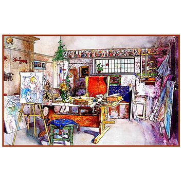Carl Larsson Father Papa/'s Bedroom Counted Cross Stitch Chart Pattern