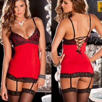 2014 Hot Sexy Lingerie Sex Sleepwear Adult Lingerie Deep V Women's Lace Sexy Underwear Black Badydoll Sleepwear seeexy 0072 = 1932952644