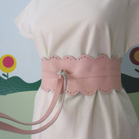 Pink Lace  Leather Obi Belt by TheButterfliesShop on Etsy