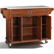 Stainless Steel Top Kitchen Cart Island in Classic Cherry Finish