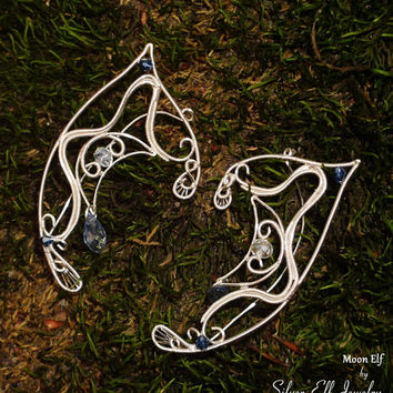 Moon Elf Ears, Elf Earrings, Fantasy Earrings, no piercing earrings, wire ear cuff, elf ear wrap, Cosplay jewelry, Star Elf jewelry