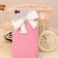 New Chic Girly Elegant Fashion Bing Rhinestones Big White Bow Pink Case Mobile Cell Phone Case Cover for iPhone 4s 5s 5c 6 Plus Samsung - Casemoda | Pinkoi