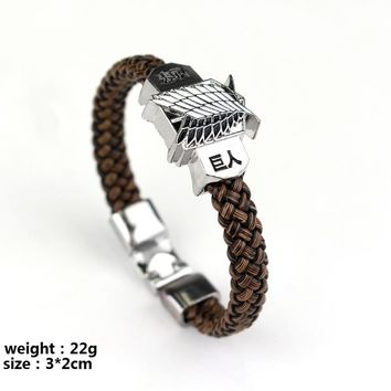 Anime Cartoon Leather braided bracelet Woven bangles Attack on Titan Legend of Zelda Naruto One Piece Assassin's Creed bangle
