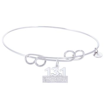 Sterling Silver Carefree Bangle Bracelet With Marathon 13.1 W/Diamond Charm