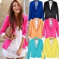 Long Sleeves Single Button Blazers Jackets