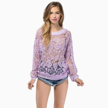ONETOW Embroidery Lace Crochet Round-neck Long Sleeve See Through Hoodies [8789473671]