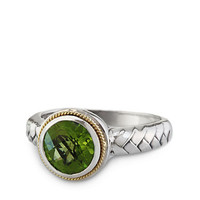Effy Balissima Peridot Ring in Sterling Silver with 18 Kt. Yellow Gold