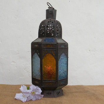 Vintage French hanging candle lantern, rustic metal lantern, north african lantern, vintage glass lantern, retro lantern, hanging lighting