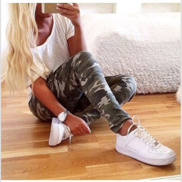 2015 New Fashion Women's Camouflage Patterns Elegant Slim Casual Pants = 1876540036