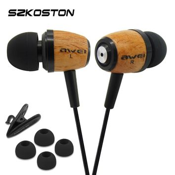 Awei Q9 Wood Earphone With TPE Wire & Hifi Speaker 3D Stereo Sound