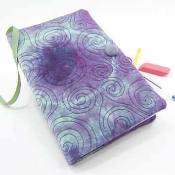 Moleskine Cover, Quilted Journal Slipcover, Fabric Diary - Purple, and Sea Foam Green Tie Dyed Cotton