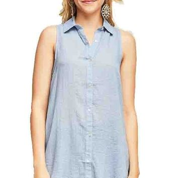 Denim Blue Button Down Sleeveless Shirt