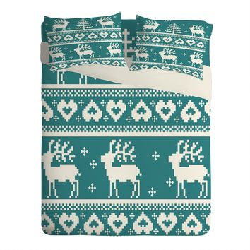 Natt Knitting Blue Deer Sheet Set Lightweight