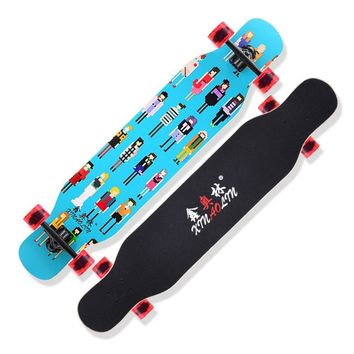 Double Rocker Longboard Maple Skate Board Four Wheels Skateboard Scooter Dancing Board Multifunction For Unisex Adults