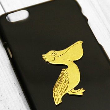 Pelican iPhone 6 Case Bird Gold iPhone 5 and iPhone 5s Cover Galaxy S6 S5 Black and Gold Ocean Unique Phone Cases Covers Plastic Hard Snap