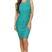 Remarkable Teal Blue Lace Midi Dress