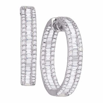 14kt White Gold Women's Baguette Round Diamond Inside Outside Hoop Earrings 3-1-2 Cttw - FREE Shipping (US/CAN)