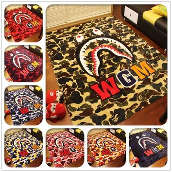 winter-super-soft-wgm-shark-blanket-supreme-fleece-blankets-a-bathing-ape-bape-coral number 1
