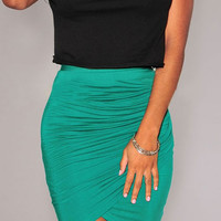 Green Ruched Tulip Skirt