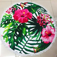 Fun Printed Microfiber Large Tropical Hibiscus Flower Palm Branch Round Beach Towel Blanket with Fringe Beach Vacation Summer