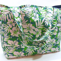 Extra Large Green Tropical Beach Bag