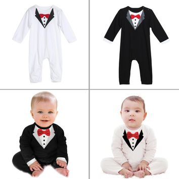 Baby Romper baby Clothes Infant Toddler Boys Gentlemen Clothes Bowknot Long Sleeve Cotton  Rompers  Body Clothing Jumpsuit