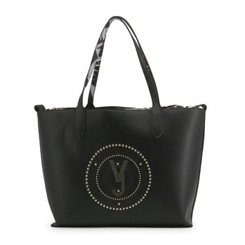 Versace Black Leather Shopping Bag